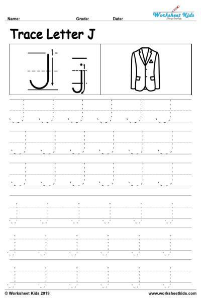 Letter J Tracing Worksheets Preschool Letter J Alphabet Tracing Worksheets Free Printable Pdf