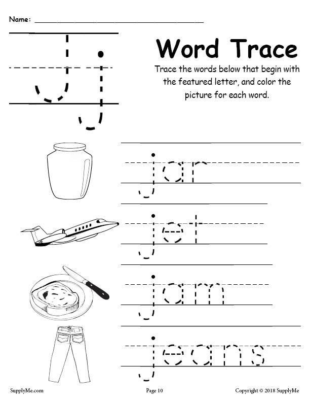 Letter J Tracing Worksheets Preschool Letter J Words Alphabet Tracing Worksheet