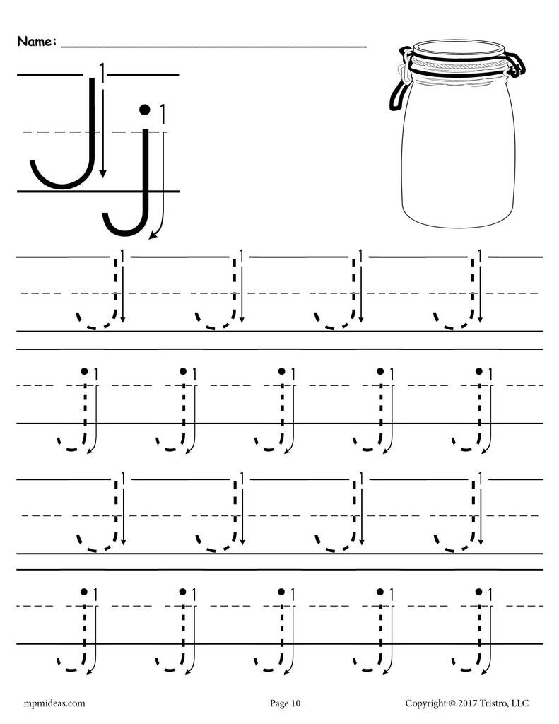 Letter J Tracing Worksheets Preschool Printable Letter J Tracing Worksheet with Number and Arrow Guides