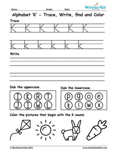 Letter K Tracing Worksheets Preschool Alphabet Letter K Trace Write Find Color Free Printable Pdf
