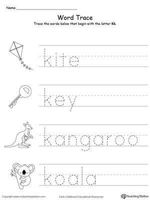 Letter K Tracing Worksheets Preschool Early Childhood Alphabet Worksheets