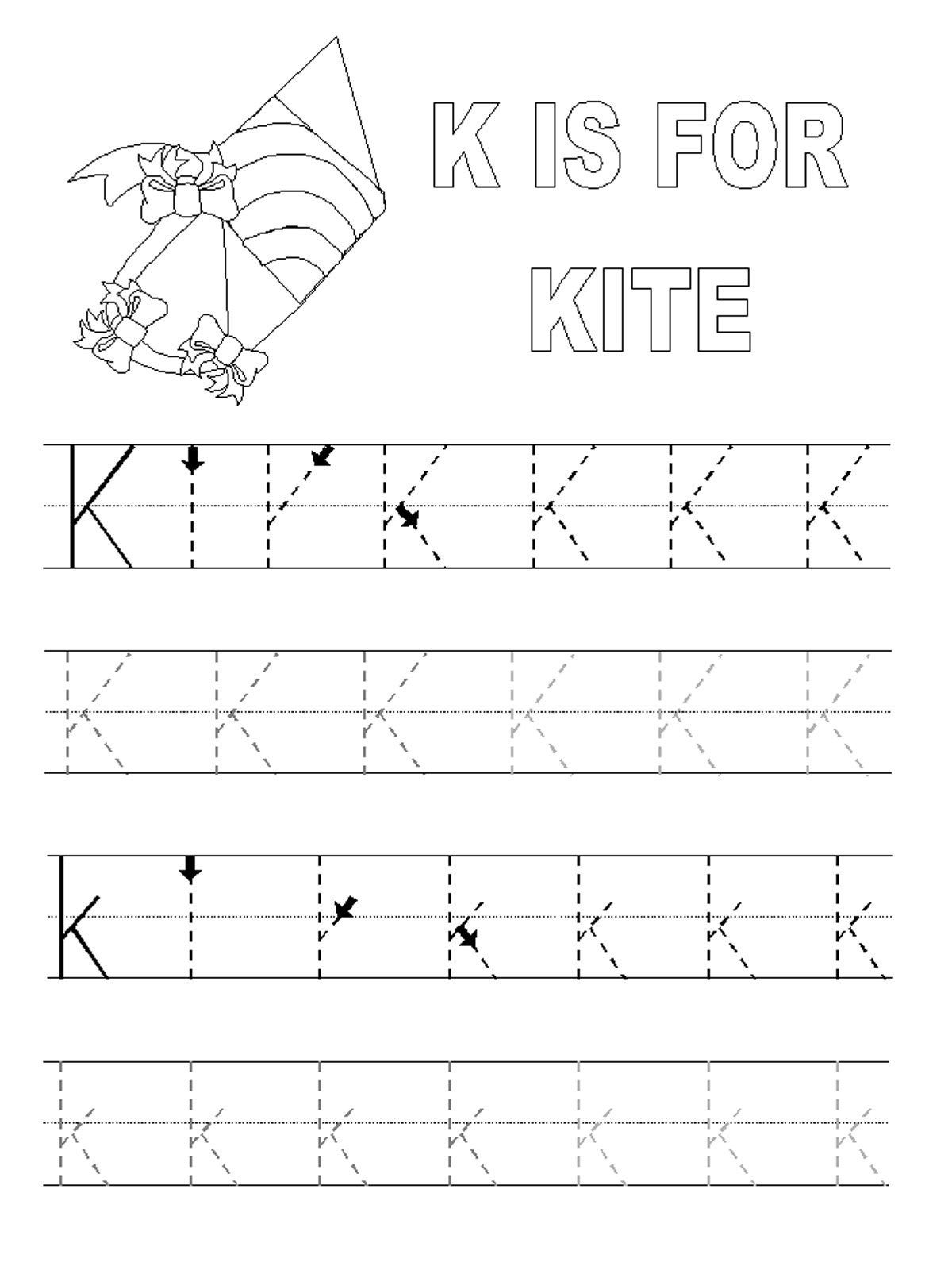 Letter K Tracing Worksheets Preschool Printable Alphabet Tracing Pages with Images