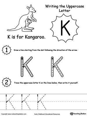 Letter K Tracing Worksheets Preschool Writing Uppercase Letter K