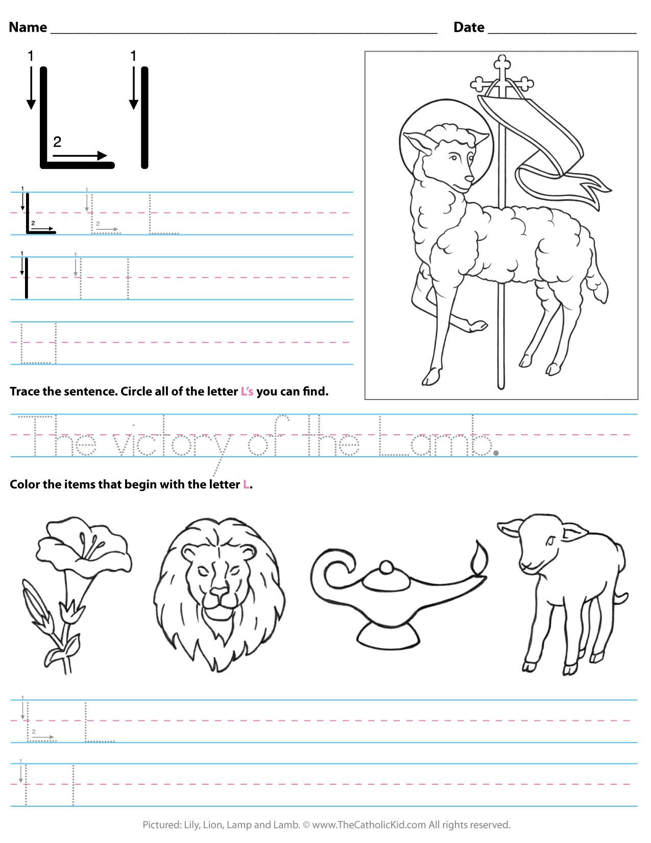 Letter L Worksheet for Preschool Catholic Alphabet Letter L Worksheet Preschool Kindergarten