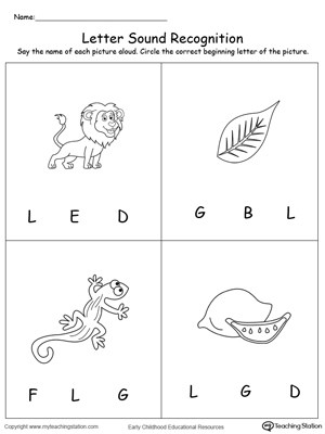 Letter L Worksheet for Preschool Recognize the sound Of the Letter L