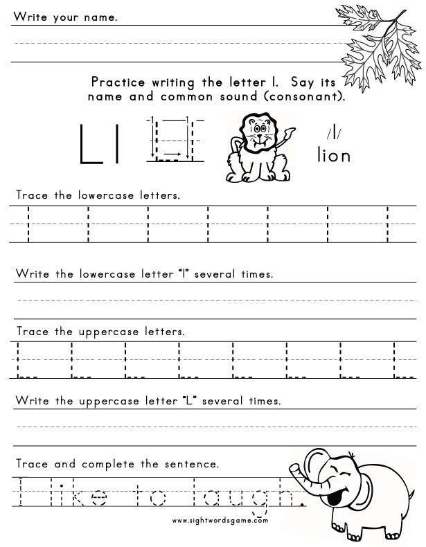 Letter L Worksheet for Preschool the Letter L