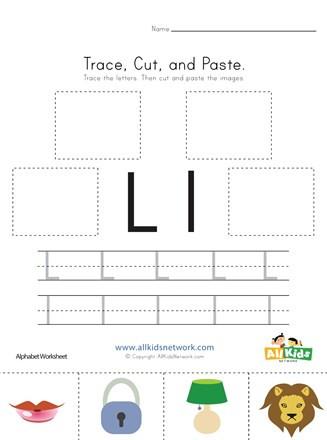 Letter L Worksheet for Preschool Trace Cut and Paste Letter L Worksheet