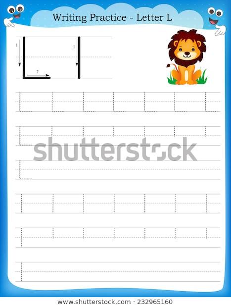 Letter L Worksheet for Preschool Writing Practice Letter L Printable Worksheet เวกเตอร์สต็อก