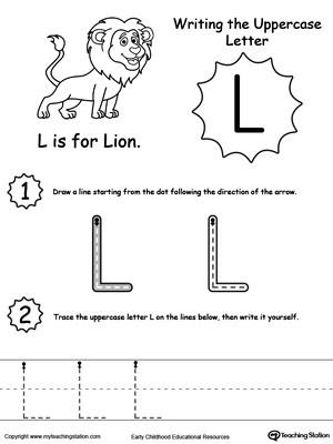 Letter L Worksheet for Preschool Writing Uppercase Letter L