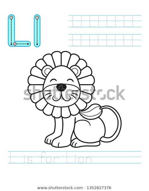 Letter L Worksheet Preschool Coloring Book Page Printable Worksheet Kindergarten เวกเตอร์