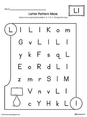 Letter L Worksheet Preschool Letter L Pattern Maze Worksheet
