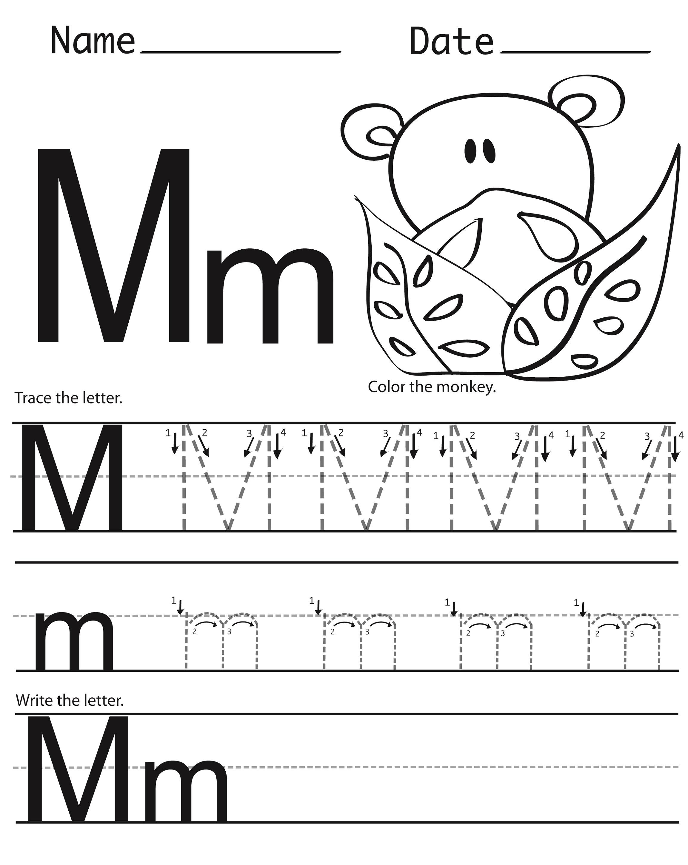 Letter M Worksheets for Preschoolers Free Preschool Worksheets Letter M Clover Hatunisi