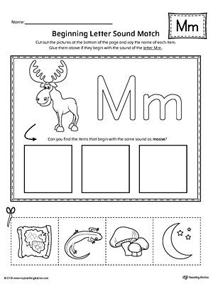 Letter M Worksheets for Preschoolers Letter M Beginning sound Picture Match Worksheet