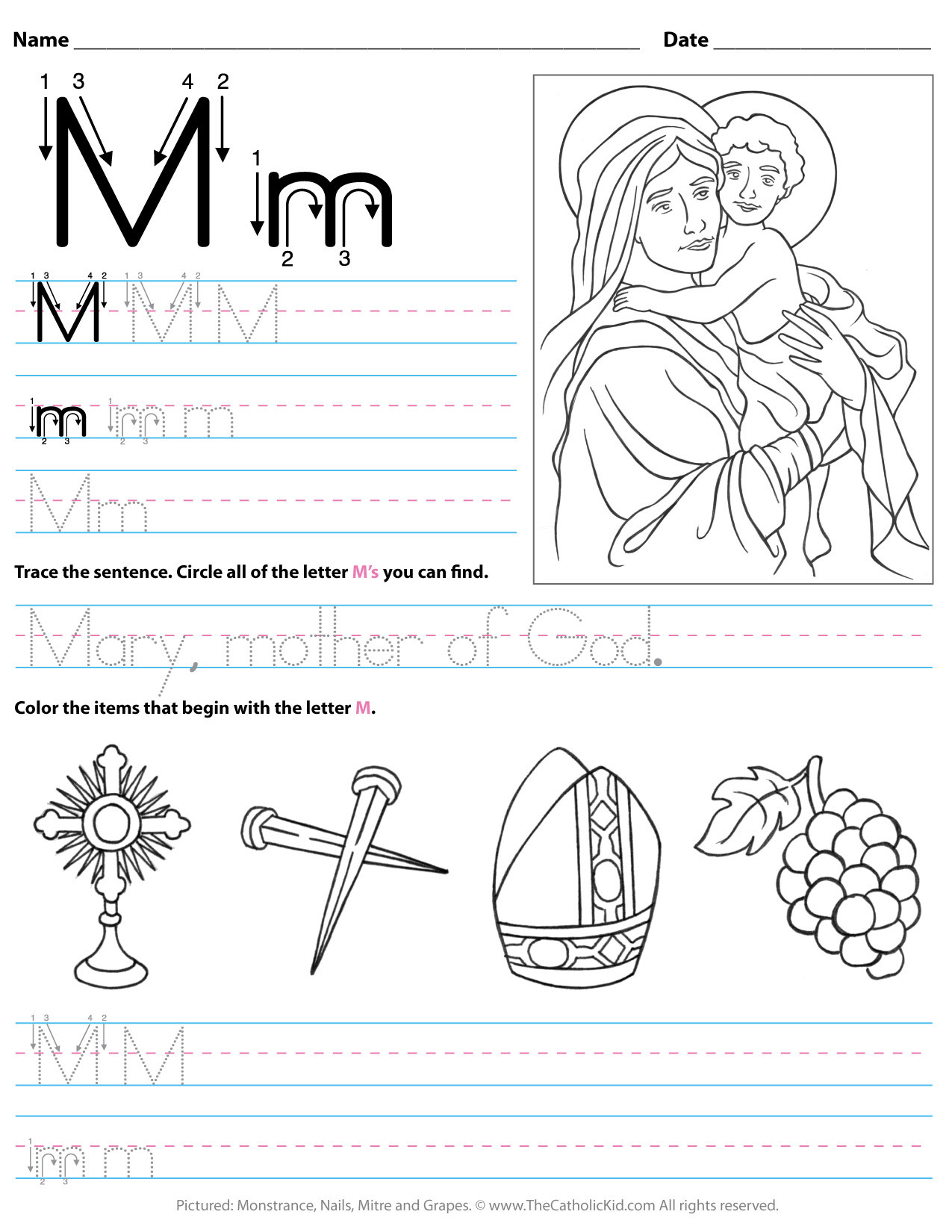 Letter M Worksheets Kindergarten Catholic Alphabet Letter M Worksheet Preschool Kindergarten
