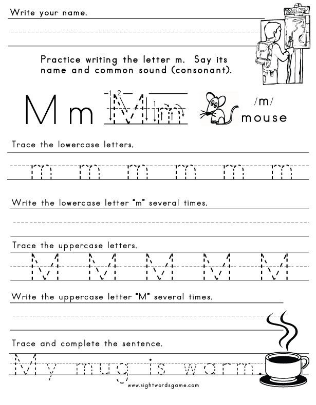 Letter M Worksheets Kindergarten the Letter M Sight Words Reading Writing Spelling