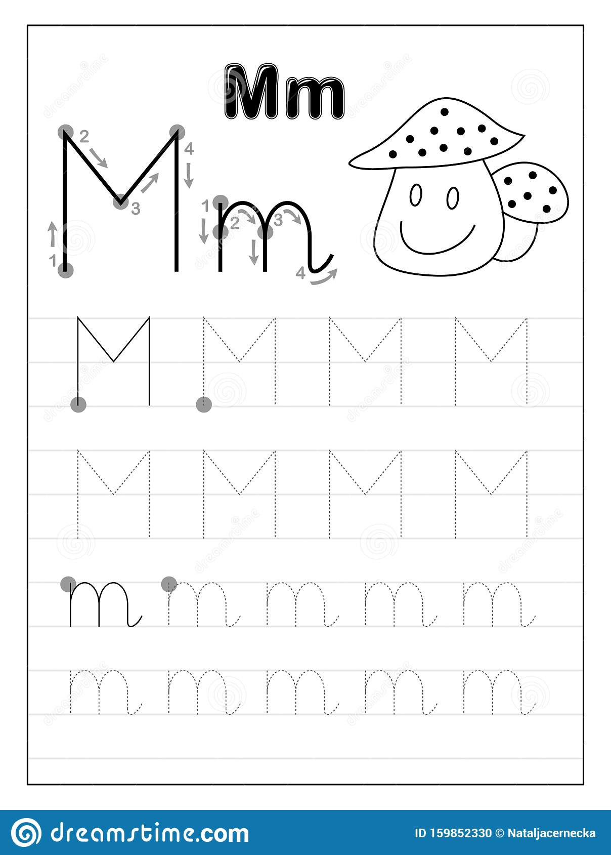 Letter M Worksheets Kindergarten Tracing Alphabet Letter M Black and White Educational Pages
