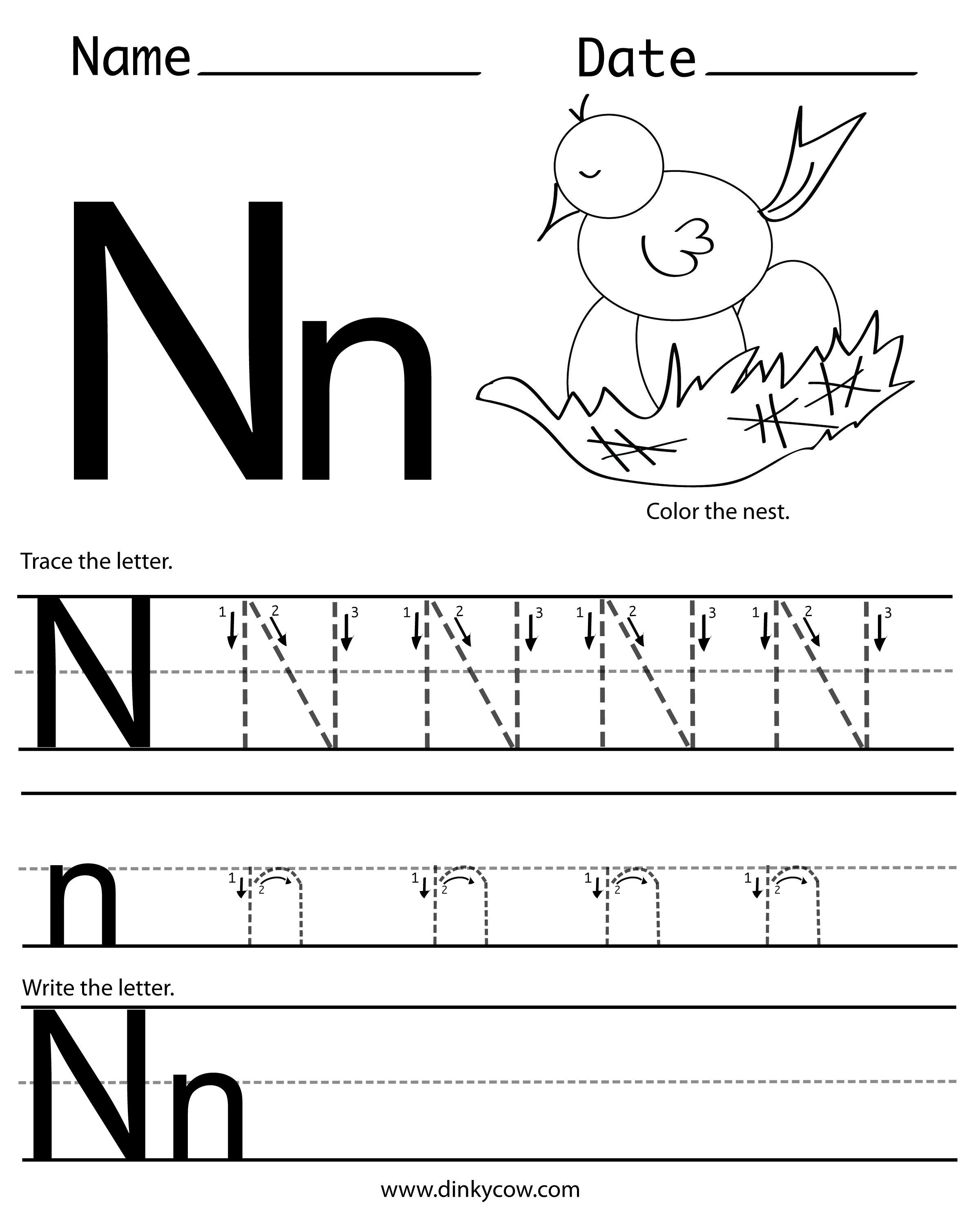 Letter N Preschool Worksheets N Free Handwriting Worksheet Print 2 400—2 988 Pixels