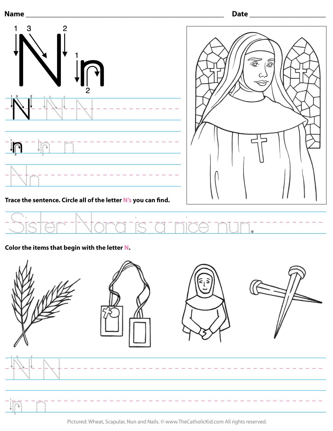 Letter N Worksheets for Kindergarten Catholic Alphabet Letter N Worksheet Preschool Kindergarten