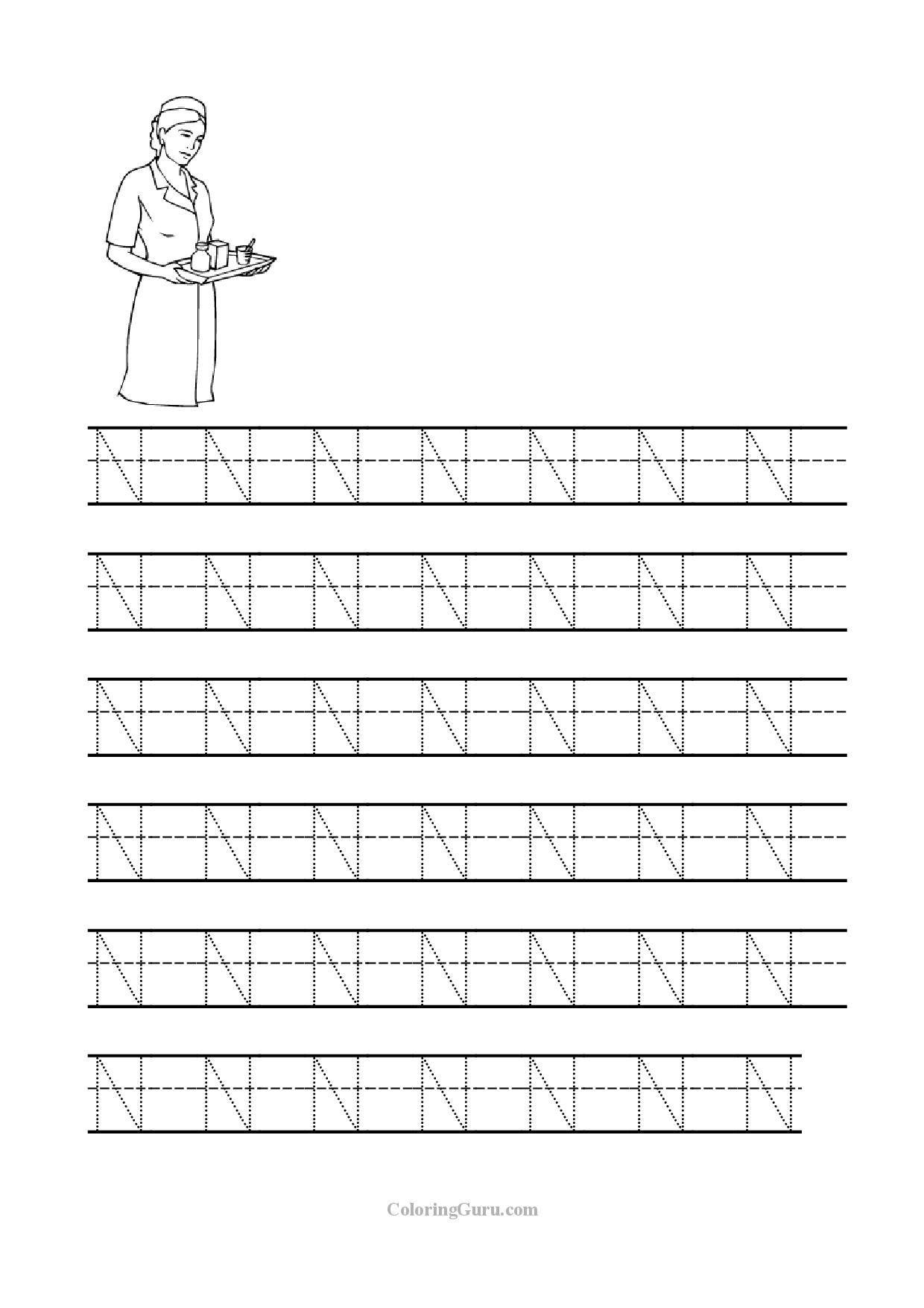 Letter N Worksheets for Kindergarten Free Printable Tracing Letter N Worksheets for Preschool