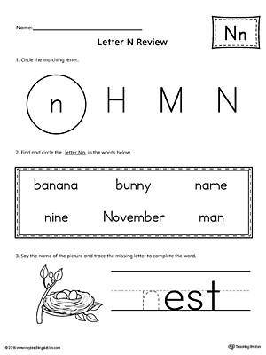 Letter N Worksheets for Kindergarten Learning the Letter N Worksheet