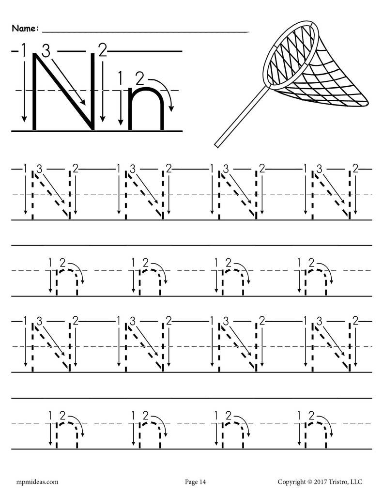 Letter N Worksheets for Kindergarten Printable Letter N Tracing Worksheet with Number and Arrow Guides