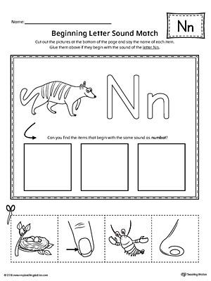 Letter N Worksheets Kindergarten Letter N Beginning sound Picture Match Worksheet