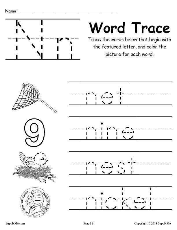 Letter N Worksheets Kindergarten Letter N Words Alphabet Tracing Worksheet