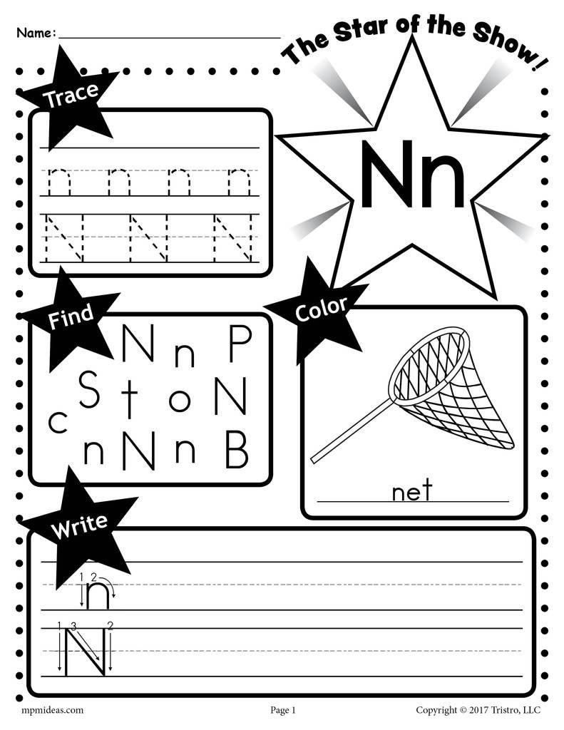 Letter N Worksheets Kindergarten Letter N Worksheet Tracing Coloring Writing & More