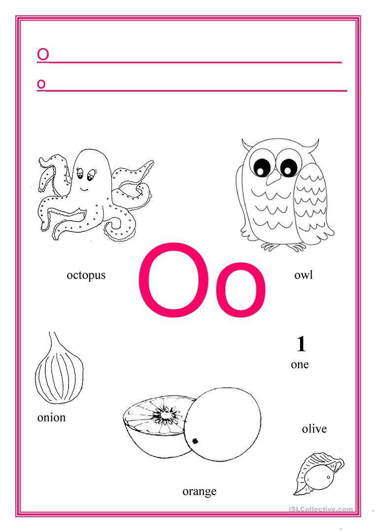 Letter O Worksheet for Kindergarten Alphabet Letter O English Esl Worksheets for Distance