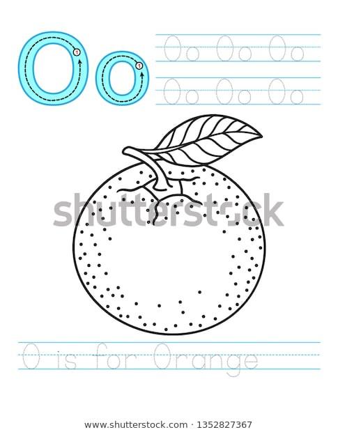 Letter O Worksheet for Kindergarten Coloring Book Page Printable Worksheet Kindergarten เวกเตอร์