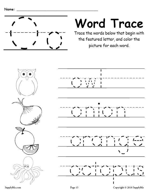 Letter O Worksheet for Kindergarten Letter O Words Alphabet Tracing Worksheet