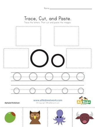 Letter O Worksheet for Kindergarten Trace Cut and Paste Letter O Worksheet