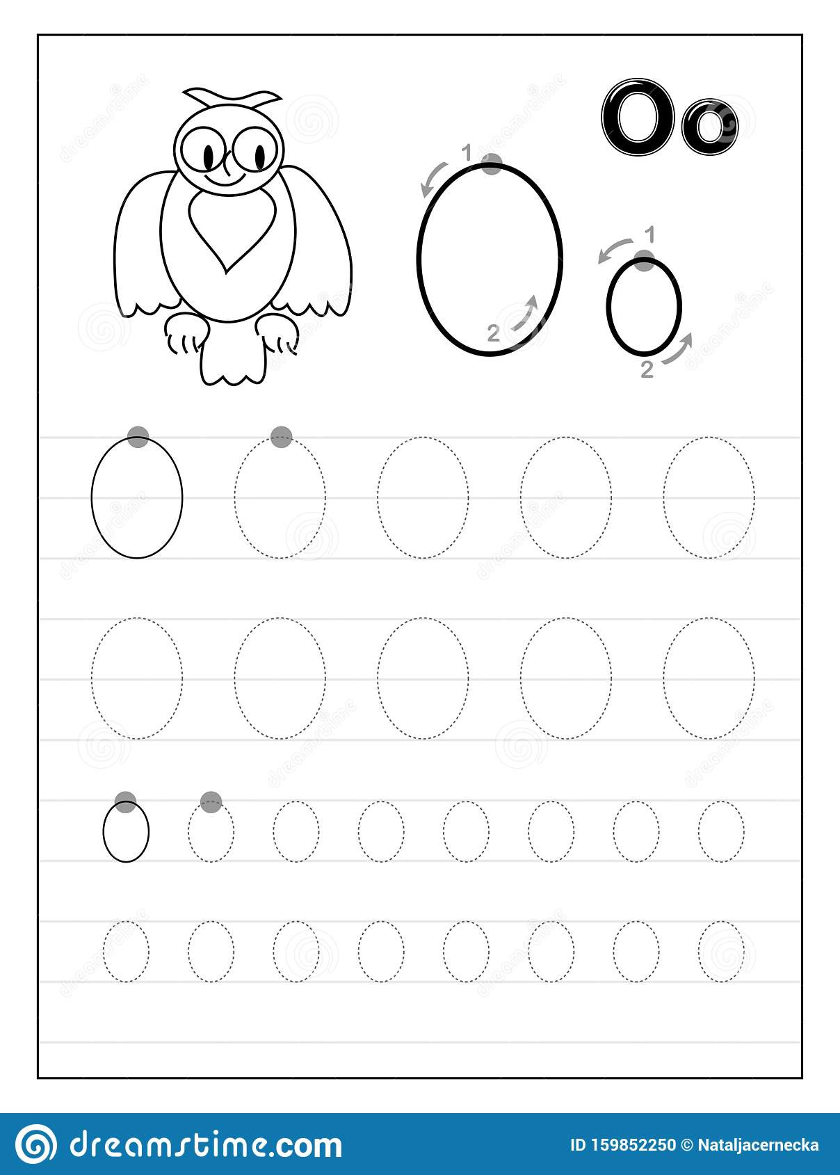 Letter O Worksheet for Kindergarten Tracing Alphabet Letter O Black and White Educational Pages