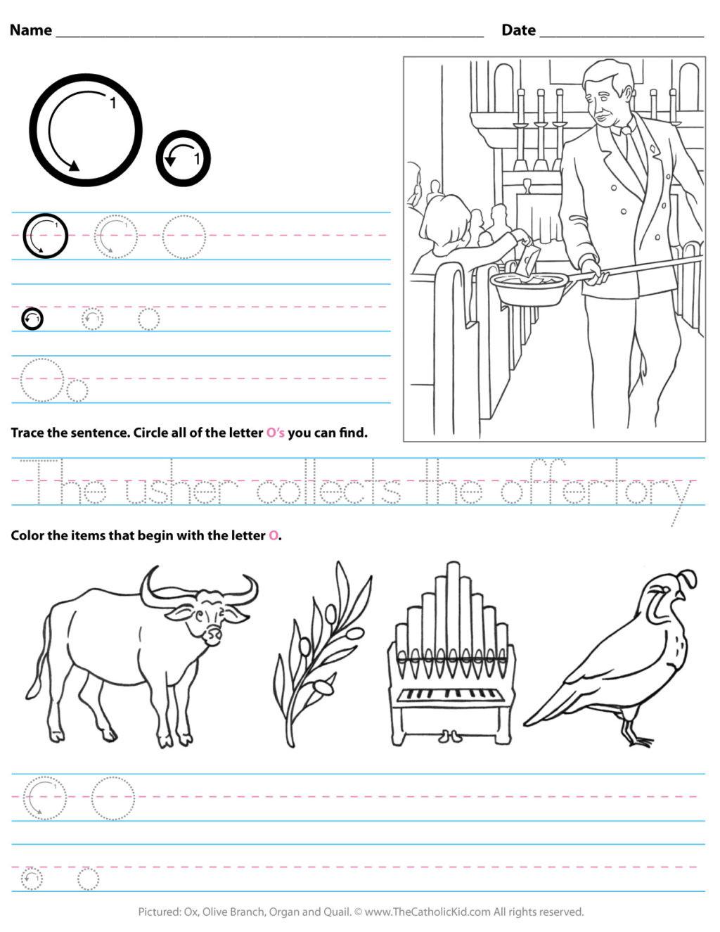 Letter O Worksheets for Preschool Worksheet Catholic Alphabet Letter O Worksheet Preschool