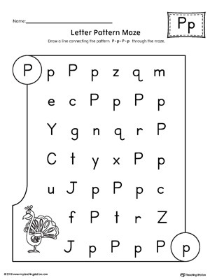 Letter P Worksheets Preschool Letter P Pattern Maze Worksheet