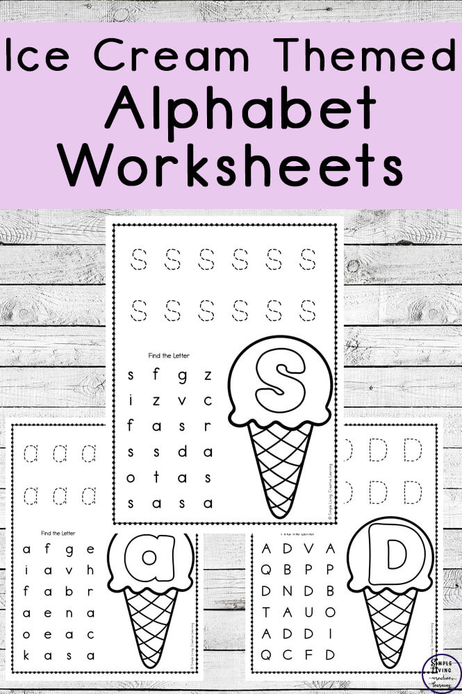 Letter Recognition Worksheets for Kindergarten Ice Cream themed Alphabet Worksheets Simple Living