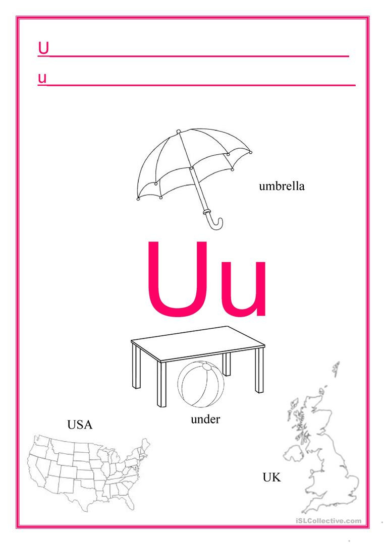Letter U Worksheets for Kindergarten Alphabet Letter U English Esl Worksheets for Distance