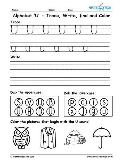 Letter U Worksheets for Kindergarten Alphabet Letter U Trace Write Find Color Free Printable Pdf