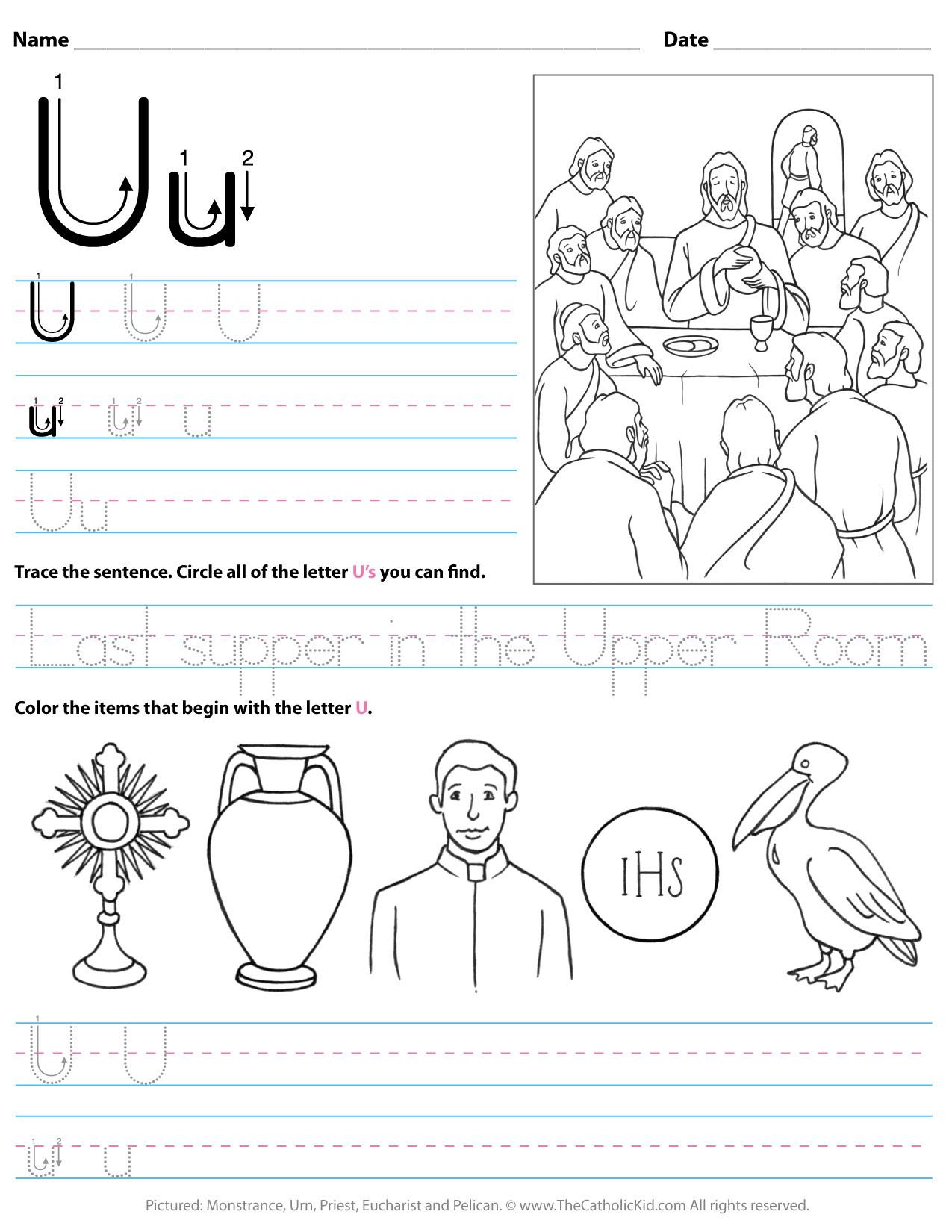 Letter U Worksheets for Kindergarten Catholic Alphabet Letter U Worksheet Preschool Kindergarten