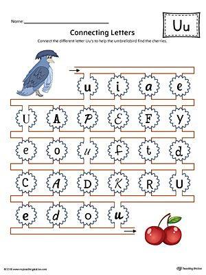 Letter U Worksheets for Kindergarten Finding and Connecting Letters Letter U Worksheet Color