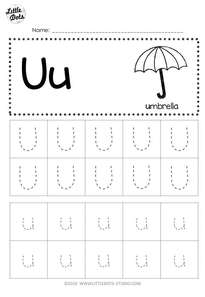 Letter U Worksheets for Kindergarten Free Letter U Tracing Worksheets