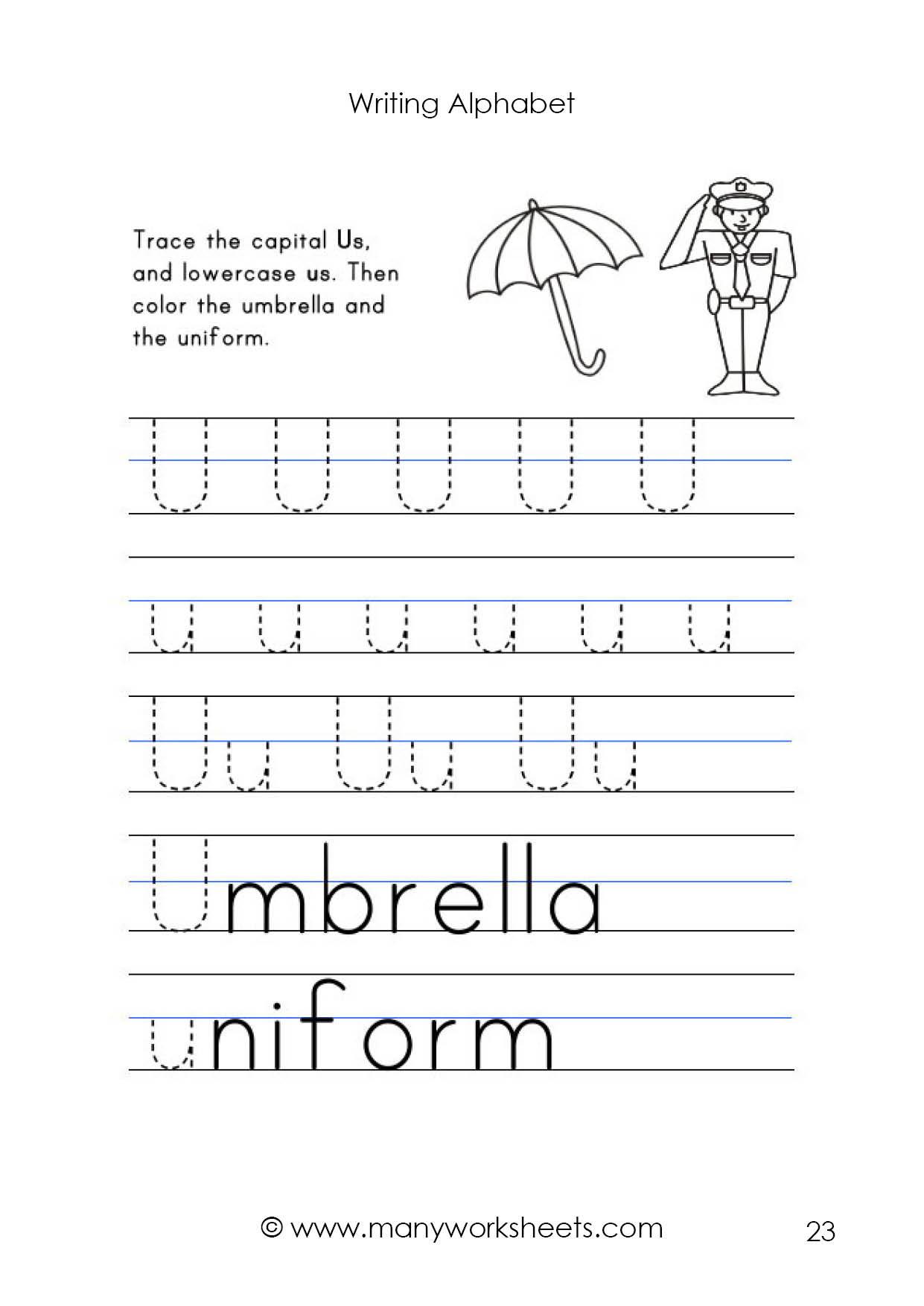 Letter U Worksheets for Kindergarten Letter U Worksheet – Tracing and Handwriting
