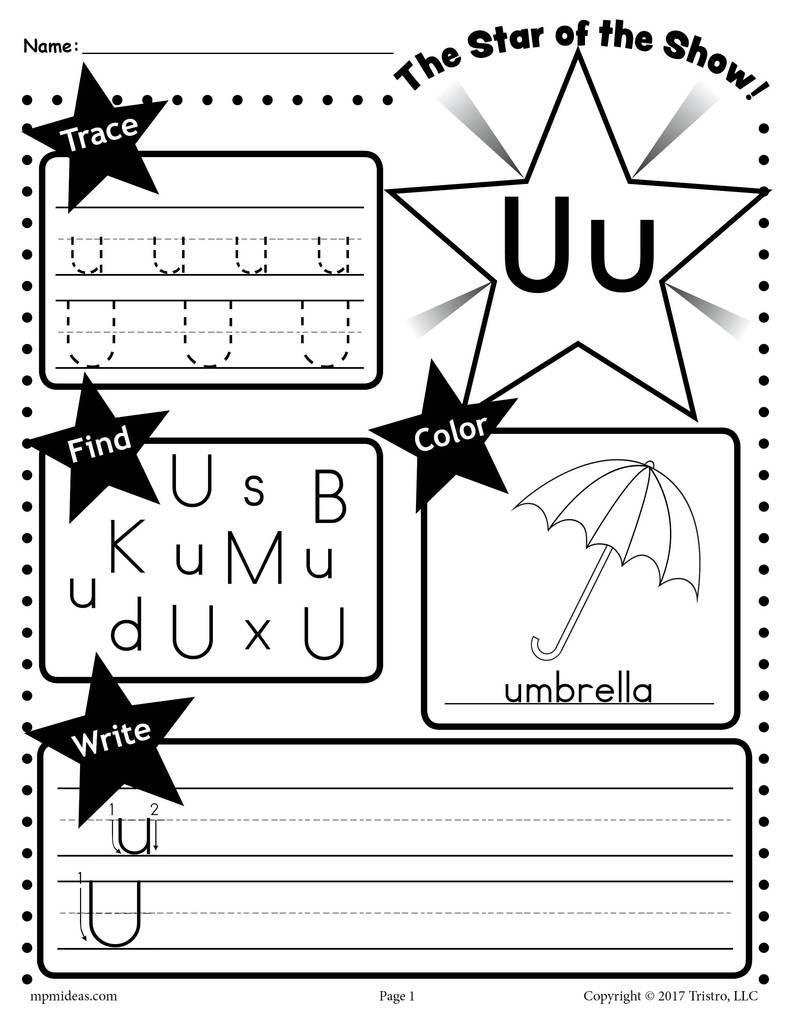 Letter U Worksheets for Kindergarten Letter U Worksheet Tracing Coloring Writing & More