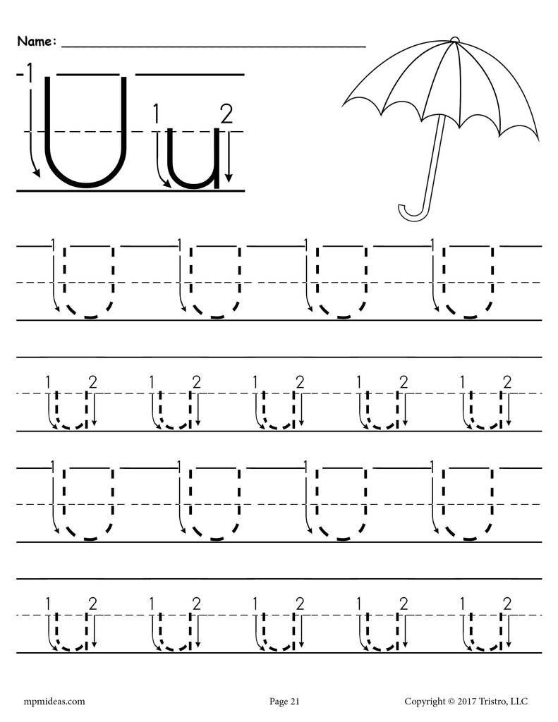 Letter U Worksheets for Kindergarten Printable Letter U Tracing Worksheet with Number and Arrow Guides
