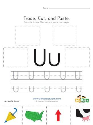 Letter U Worksheets for Kindergarten Trace Cut and Paste Letter U Worksheet
