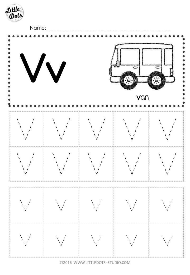 Letter V Worksheets Preschool Free Letter V Tracing Worksheets