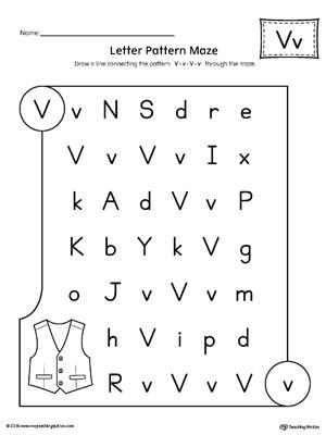 Letter V Worksheets Preschool Letter V Pattern Maze Worksheet