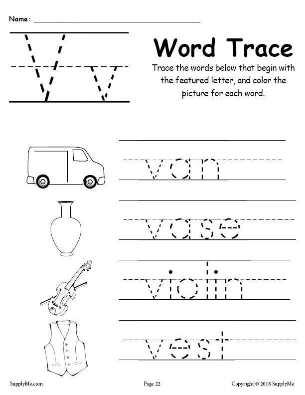 Letter V Worksheets Preschool Letter V Words Alphabet Tracing Worksheet