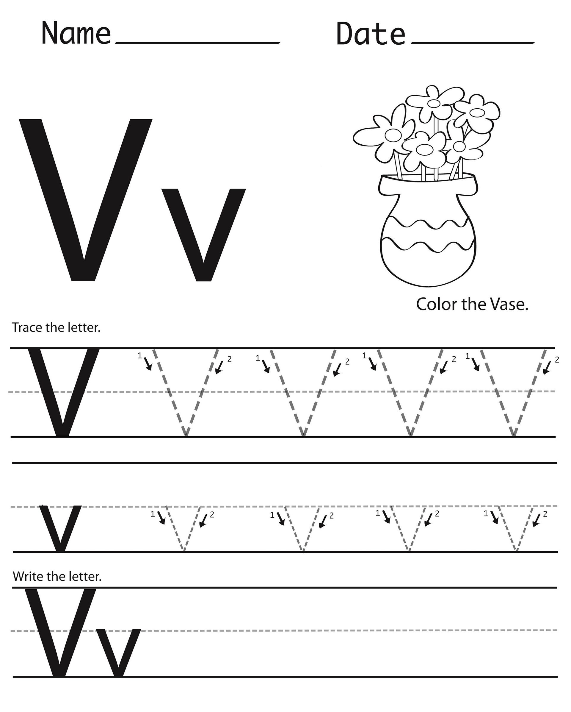 Letter V Worksheets Preschool Letter V Worksheets