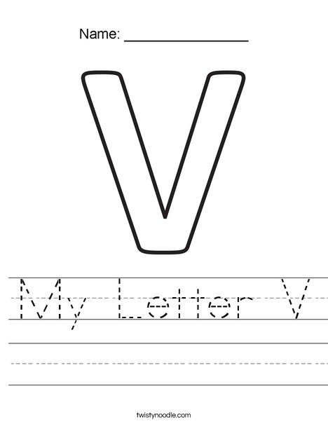 Letter V Worksheets Preschool My Letter V Worksheet Twisty Noodle